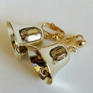 Golden Jingle bells holiday CLIP-ON earrings
